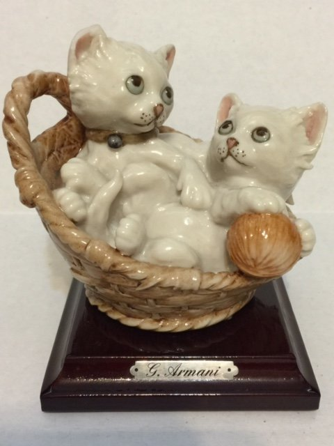 Authentic G. ARMANI Porcelain Cats Playing Figure