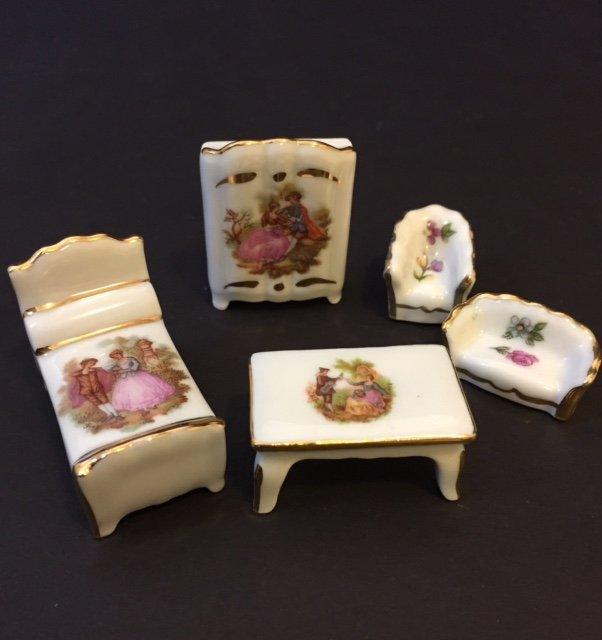 5pc LIMOGES France Porcelain Victorian Doll House