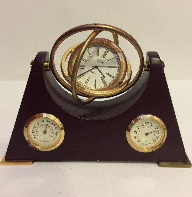 Rare BEY-BERK Cherry Wood/Brass Barometer Clock