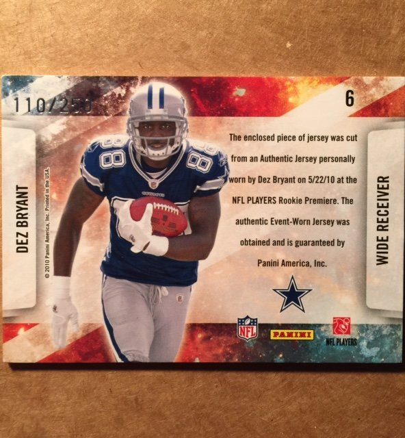 Authentic DEZ BRYANT Rookie Jersey Football Card - 2