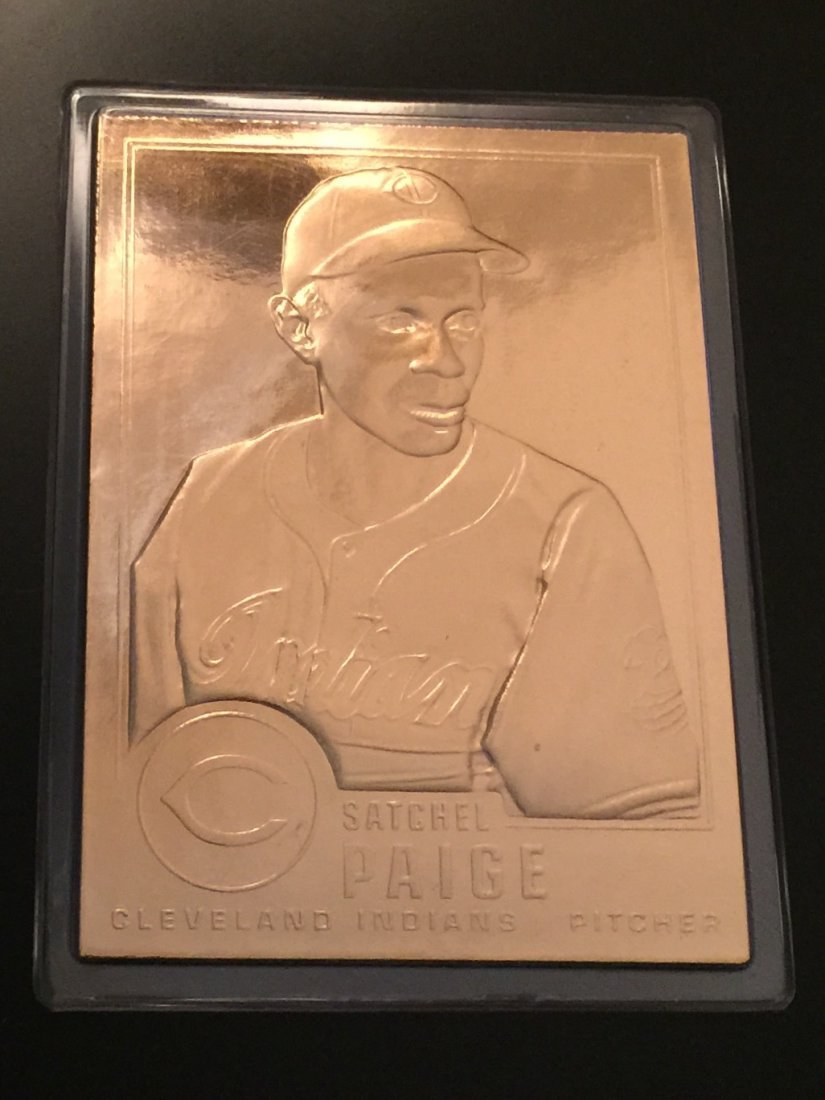Rare 22kt Gold Baseball Card of SATCHEL PAIGE