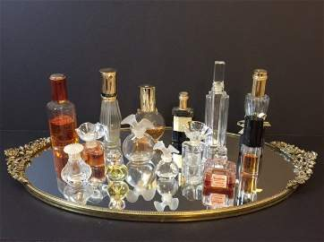 Vintage Gilded Vanity Tray with 14 VTG Perfumes