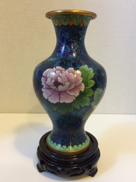 "Beautiful 9"" Tall Cloisonné Vase with Base"