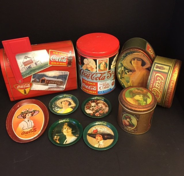 Large Lot of Vtg. COCA COLA Advertising Tins Trays