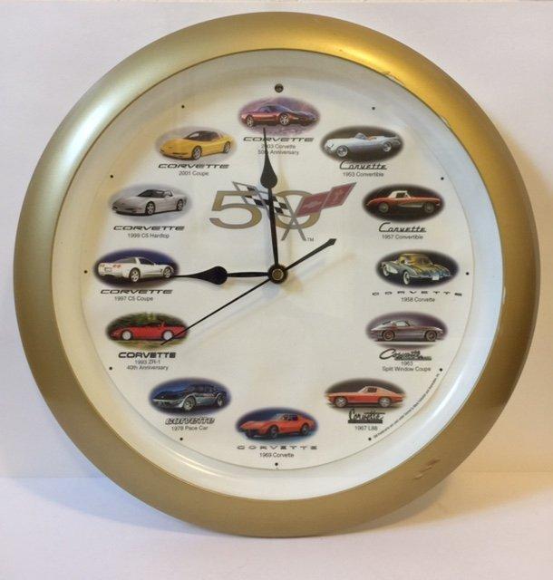 Vintage 50 Years of CORVETTE Wall Clock