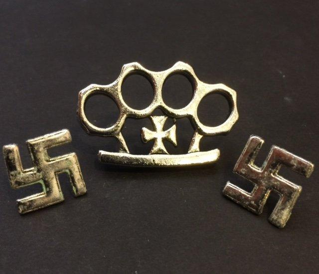 Lot of 3 German NAZI Swastika/Brass Knuckles Pins
