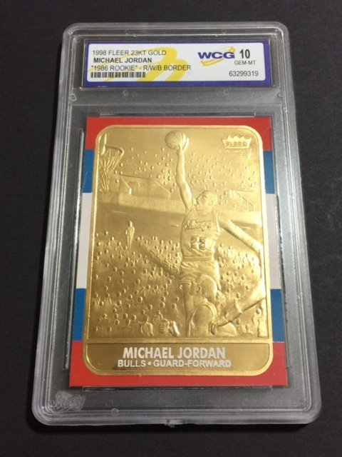 V Rare MICHAEL JORDAN 23kt Gold Rookie Card GEM 10