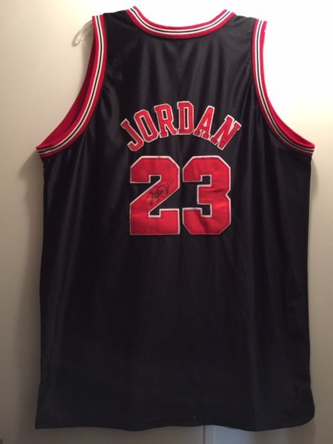 release date ab359 4fd54 Autographed MICHAEL JORDAN Rookie Year Jersey