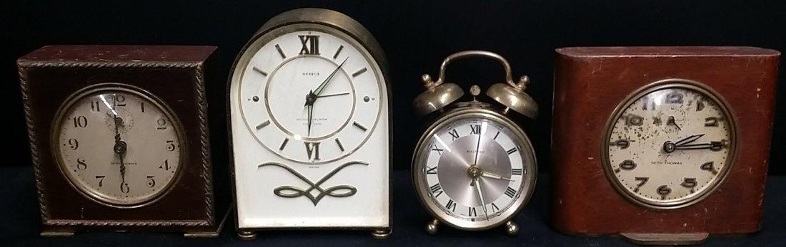 Lot of 4 Antique Mechanical Mantel Clocks