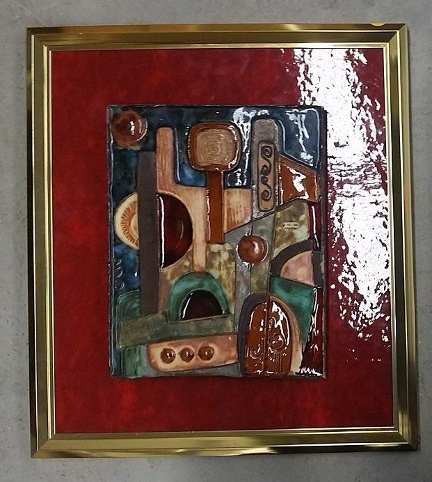 Framed Ceramic Plaque, Signed