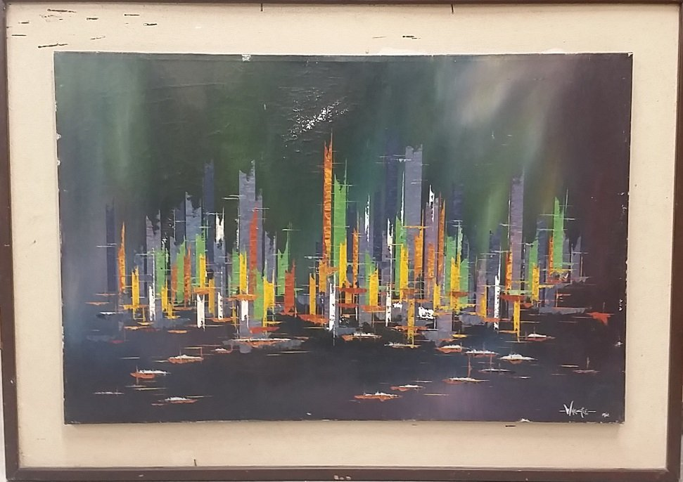 """Oil on Canvas Signed Wheale 1962 """"Purple City"""""""
