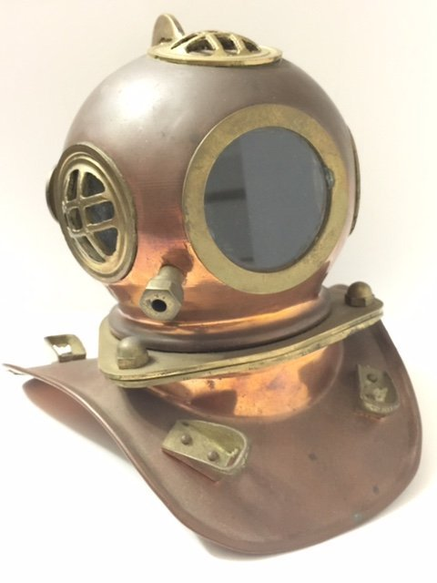 Very Old Solid Brass Antique Navy Diver's Helmet