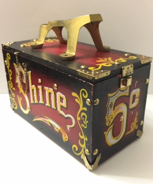 Vintage 5 Cents Shoe Shine Box/Full Size/Very Cool