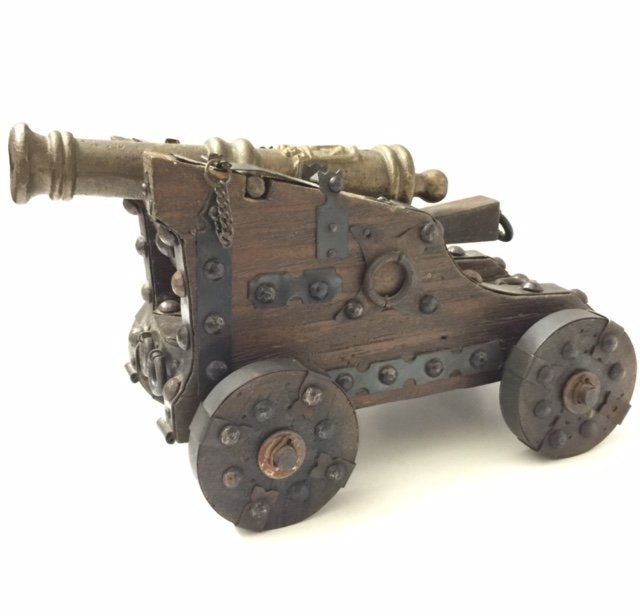 Antique Handcrafted Bronze/Wood Plank Cannon