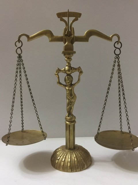 Vintage Solid Brass Cherub Scale of Justice
