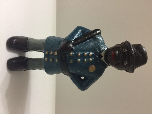 Old Black Americana Cast Iron Patrolman Coin Bank