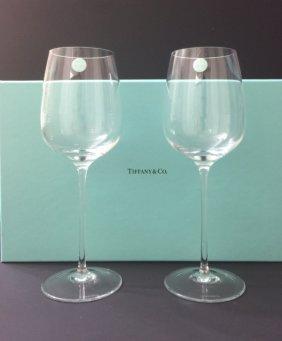 Nib Signed Tiffany & Co Crystal Toasting Flutes