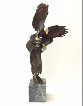 "Signed K. Cantrell Bronze Eagles Sculpture 17"""