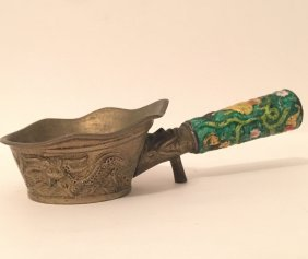 Antique Chinese Enameled & Hand Hammered Silk Iron