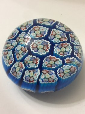 Lg Antique Murano Millefiori Glass Paperweight