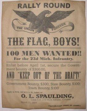 Dated 1864 U.s. Civil War Recruiting Poster