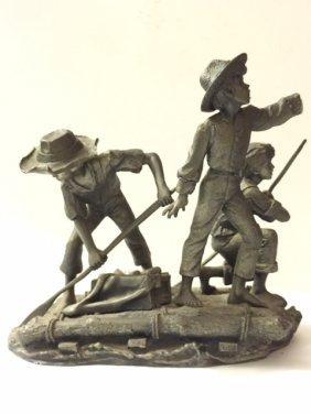 Rare Lg Pewter Tom Sawyer/mark Twain/the Pirates