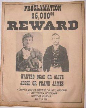 Dated 1881 Frank Or Jesse James Reward Poster