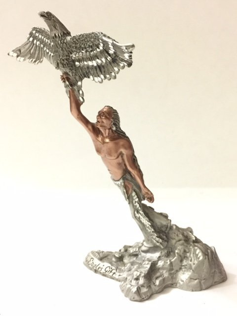 "7"" Tall Signed MASTERWORKS Fine Pewter Indian"