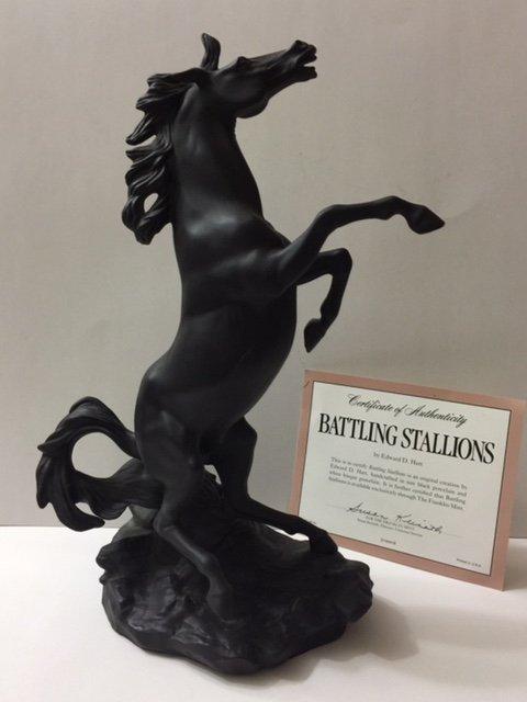 Large Fine Porcelain Bucking BLACK Stallion Horse
