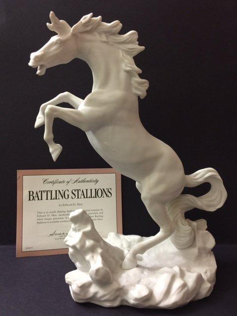 Large Fine Porcelain Bucking WHITE Stallion Horse