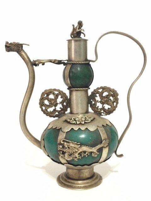 Antique Chinese Jade & Tibetan Silver Teapot