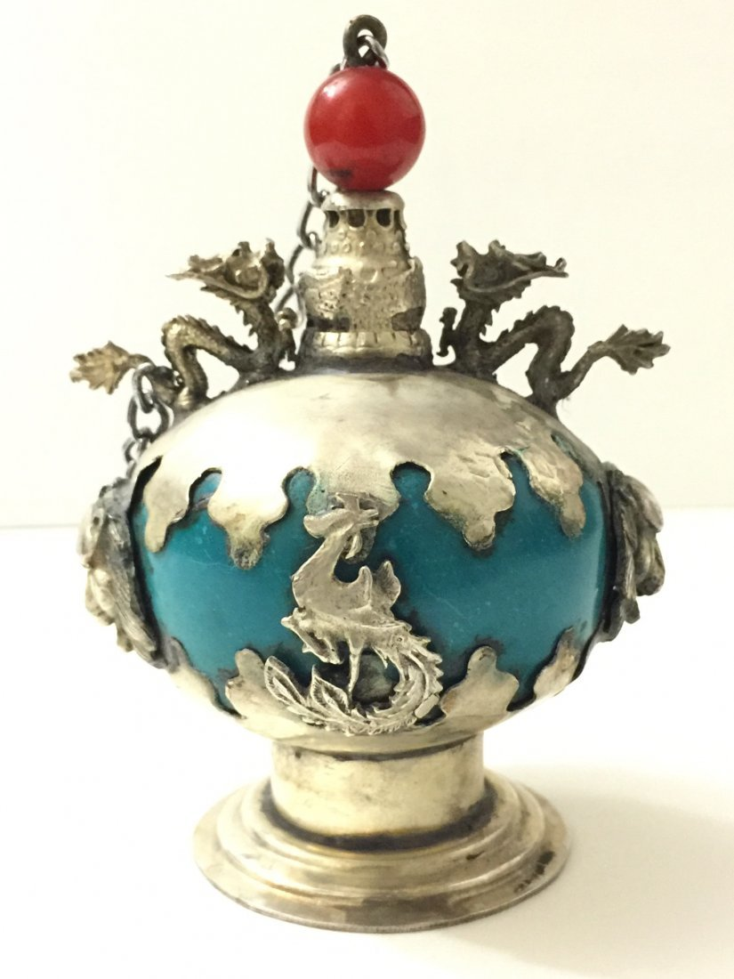 Vintage Chinese Silver/Dragon/Lion Snuff Bottle