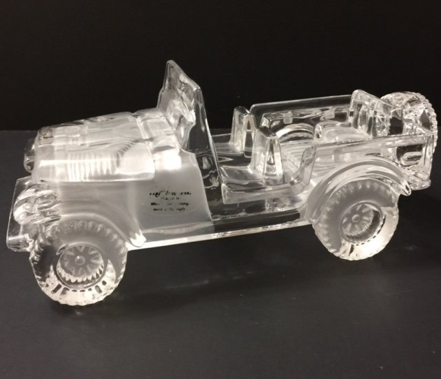 Rare HOFBAUER German Lead Crystal Safari Jeep Car