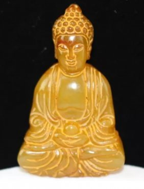 Old Chinese Hand Carved Natural Yellow Jade Buddha