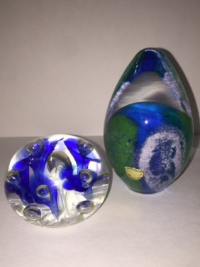 Lot Of 2 Artist Signed Quality Paperweights