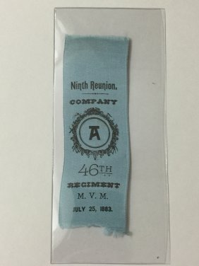 Original Civil War 46th Regiment Reunion Ribbon