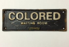 1937 Black Americana Cast Iron Segregation Plaque