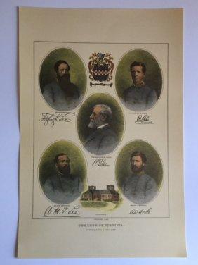 Copyright Date 1898 Civil War Generals Lithograph