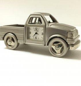 Vintage Pewter Timex Pick Up Truck Mini Clock
