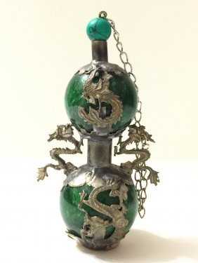 Chinese Handmade Jade Dragon/phoenix Snuff Bottle