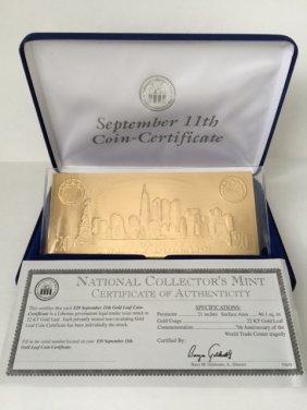 September 11th 22kt Gold Leaf $20 Coin Certificate