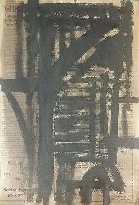 Attributed To Franz Kline Gouache On Newspaper