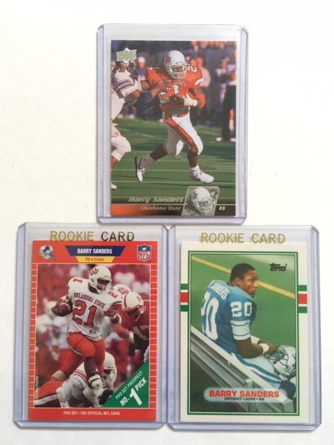 Lot of 3 BARRY SANDERS Rookie Football Cards