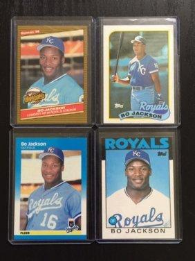 Lot Of 4 Bo Jackson Rookie Baseball Cards
