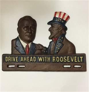 Old Cast Iron Franklin D Roosevelt & Uncle Sam Campaign