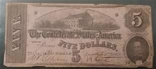 Confederate 1862 $5 Civil War Bill / Note