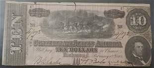 Confederate 1864 $10 Civil War Bill / Note