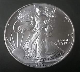 1991 US Silver Eagle 1oz .999 Silver