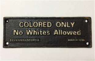 1930 Black Americana Cast Iron Segregation Sign