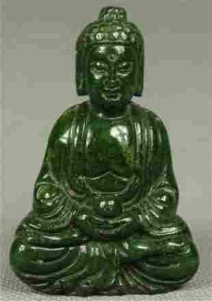 Chinese Hand Carved Spinach JADE BUDDHA